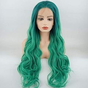 "💫CHAI 26"" GODESS GREEN BODY WAVY  LACE FRONT WIG"
